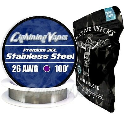 Stainless Steel 316L 26 Gauge AWG 100' + Native Wicks Platinum - Bundle