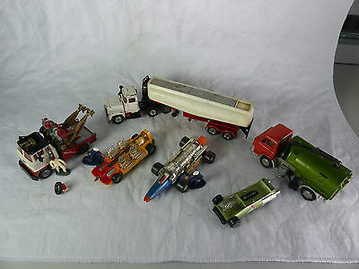 Corgi Toys Holmes Wrecker, Esso Mack,2xDragster,Dinky Road Sweeper  + extras