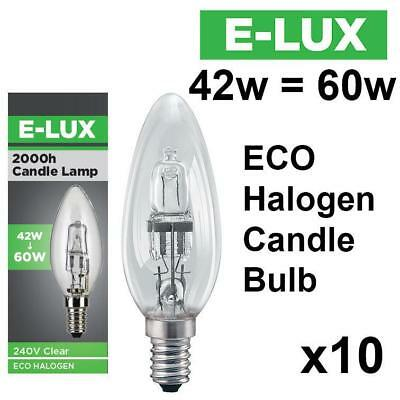 10 X E-Lux Candle Eco Halogen Energy Saving Dimmable Light Bulbs 42W/60W
