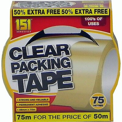 151 Adhesives Clear Transparent Parcel Packing Tape 48mm x 75m |TT1028| 50% Xtra