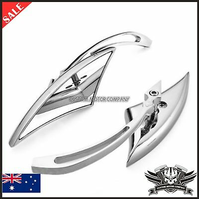 2x Chrome billet Spear Motorcycle Mirrors Harley Davidson Softail FXSTI Custom