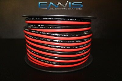 8 Gauge Per 25 Ft Red Black Zip Wire Awg Cable Power Ground Stranded Copper Car