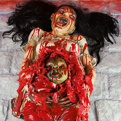 1.6M Battery Operated Animated Gory Pregnant Lady Halloween Party Led Decoration