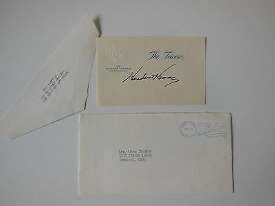 HERBERT HOOVER Signature on The Waldorf Astoria Card with Envelope dated 1961