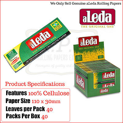 Aleda Kingsize Transparent/Clear Rolling Papers - 3/5/10/20 & 40 Packs Full Box