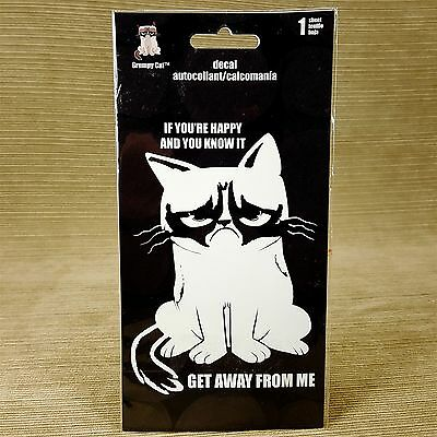Grumpy Cat White Car Decal Sticker If You're Happy You Know It Get Away From Me