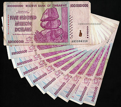 10 x 500 Million Zimbabwe Dollars Bank Notes AB 2008 Series Currency [10PCS] Lot
