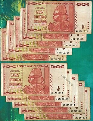 10 x 50 Billion Zimbabwe Dollars Banknotes AA AB 2008 Currency 10PCS ~ Authentic