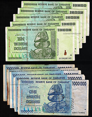 5 x 10 Trillion + 5 x 1 Million Zimbabwe Dollars Bank Notes AA AB 2008 Set 10PCS