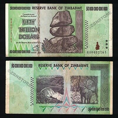 50 Trillion Zimbabwe Dollars Banknote XF / Almost UNC AA 2008 Authentic Currency