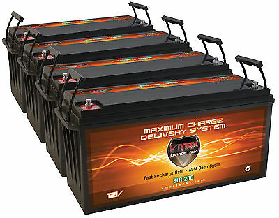 qty4 SLR200 Solar Power Backup 800AH TOTAL 12V deep cycle AGM 12 volt Battery
