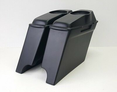 """Harley Davidson FLh Extended 4"""" Inch Saddlebags 6.5 #1 Lids Dual Exhaust"""