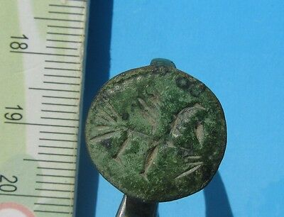 Rare ancient medieval bronze ring Viking   with the image!
