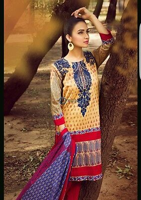 KHAADI cambric original 3pc stitched embroidered suit.BNWT. gul ahmed / elan