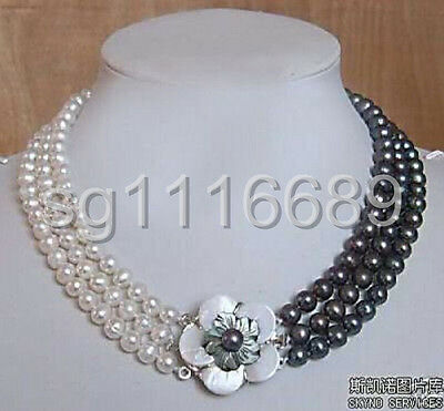 3rows 7-8mm white&black Freshwater Cultured Pearl Necklace