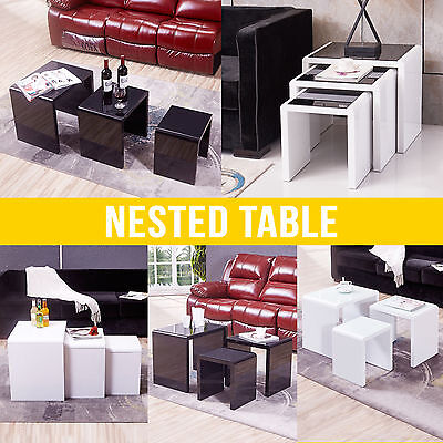 Nest of 3 Coffee Table White+Black Modern Design  Living Room Furniture