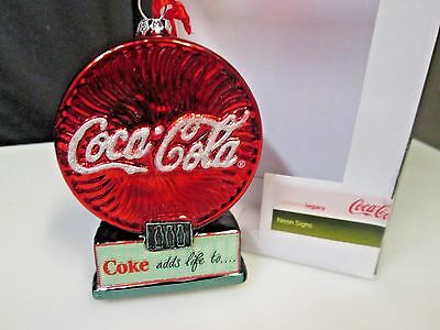 Glass Blown Reproduction of Vintage Coca-Cola Neon Sign Ornament