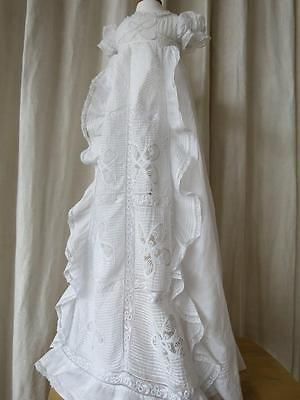 Beautiful Antique Christening Gown- Hand Embroidered Whitework & Lace-1840's