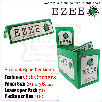 Ezee Regular Green Cut Corners Rolling Papers - One Full New Box - 100 Packets