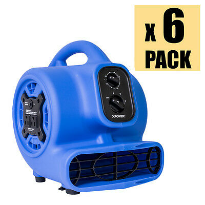 XPOWER P-230AT 1/5 HP Mini Air Mover Carpet Dryer Fan w/ Timer & Outlets 6 Pack