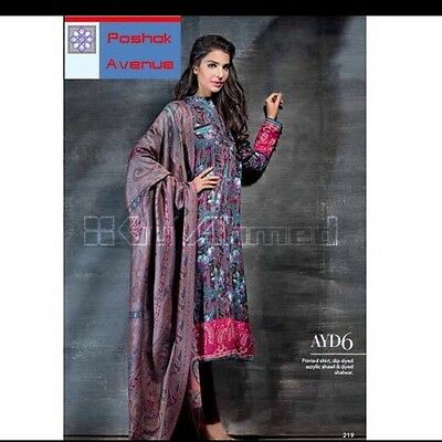 GUL AHMED 100% Original Winter Collection 2015 Unstitched Suit AYD-8
