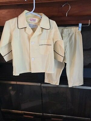 Vintage Boys Yellow Sanforized Long Pant Pajamas Size 3, Tom N Jerry Little Men