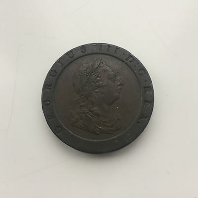 Copper Cartwheel Twopence 1797 King George Iii Very Fine Condition