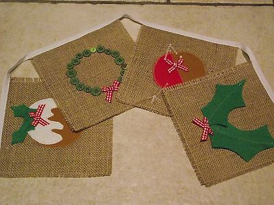 HANDMADE CHRISTMAS Hessian BUNTING Pudding, Wreath, Holly,