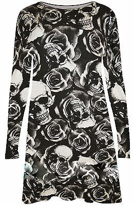 New Ladies Womens Long Sleeves Skull&Roses Print Halloween Swing Dress