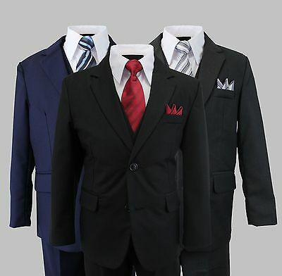 Formal Kids Toddler Boys Suit 5 PC Set With Vest and Tie 2 Button Size 2T-14