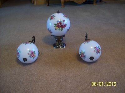 Vintage Raspberry Rose Floral Pendant Ceiling Light With 2 Matching Wall Sconce