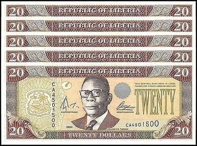 Liberia 20 Dollars X 5 Pieces (PCS), 2004, P-28b, UNC