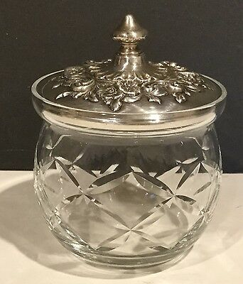 Gorham Crystal Mustard Jam Jar Sterling Silver Repousse. Buttercup Lid #989
