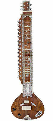 PRO-GRADE ACOUSTIC-ELECTRIC STUDIO SITAR w VOL & TONE CONTROL, SAFE USA SHIPPING