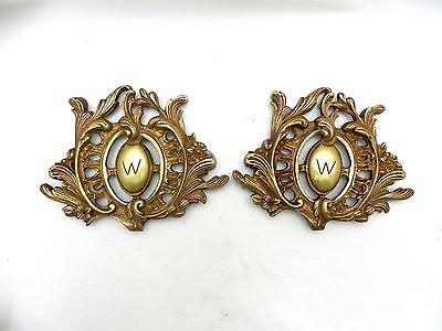 Lot of 2 Old Cast Brass ORNATE Monogrammed W Door Cartouche Architectural Accent