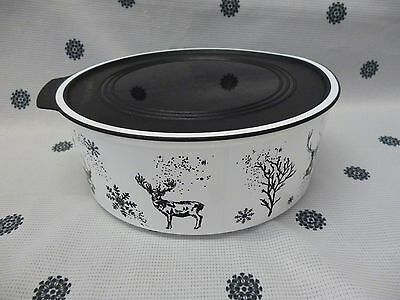 Tupperware Black & White 1.5L Reindeer Christmas Canister Container New