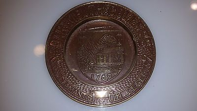 "RARE Vintage 5-7/8"" Dartmouth College Solid Brass Plate Dish"