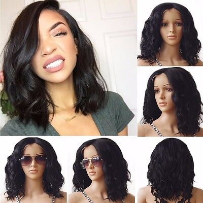 Top Quality Women Ladies Lace Front Wig Natural Black Long Wavy Synthetic Wigs #