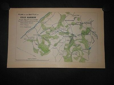 Plan of the Battle of Cold Harbor Virginia 1866 Civil War Battle Map Hand Color