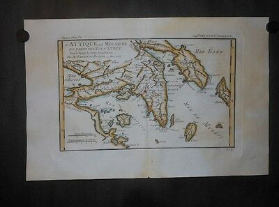Antique Megaride Isle Eubee Euboea Athens Greece 1785 Map By Bocage Hand Colored