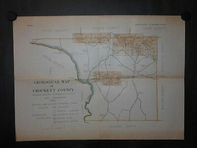 University Of Texas Land In Crockett County Hand Colored 1918 Map Roads Ranches