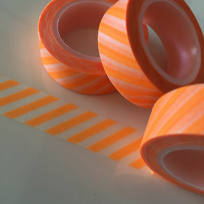 Washi Tape Neon Orange Diagonal Stripe 15Mm Wide X 10Mtr Roll Plan Craft Wrap