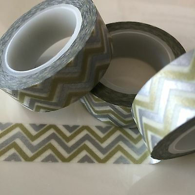 Washi Tape Silver/olive Zigzag 15Mm Wide X 10Mtr Roll Scrap Plan Craft Wrap