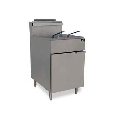 Commercial Gas Deep Fryer, Single 37L Vat 5 Burner 2 baskets  Natural Gas