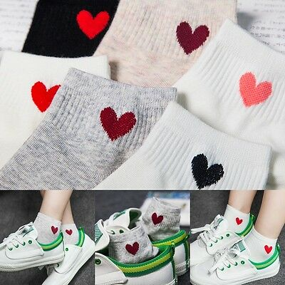 Womens Girls Sports Casual Cute Heart Ankle High Low Cut Cotton Socks
