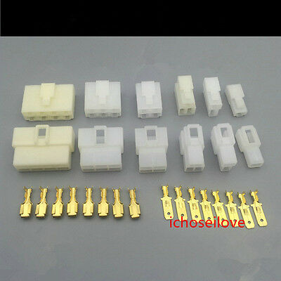 10Pairs 1-8Way Mini Connector Kit For Motorcycle Pin Car Terminal Blade 0.25''