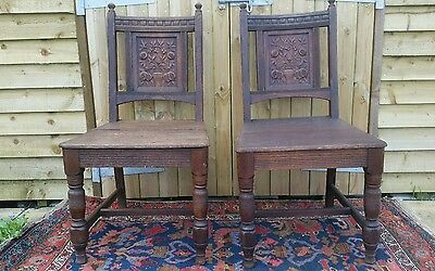 Antique Carved Oak Hall Chairs Dining chairs occasional chairs x 2