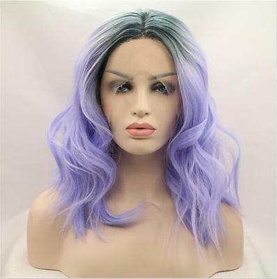 "14"" Heat resistant Lace front wig Synthetic Bob wavy Ombre color 1B/Lavender"
