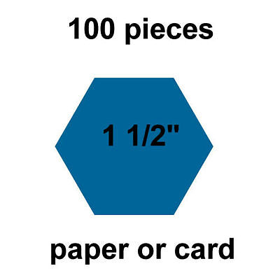1 1/2  inch Hexagons - 100 per pack - Paper or Card - English Paper Piecing