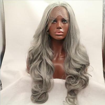 "18-24"" Lace front wig Heat resistant Synthetic hair Body wavy Gray color"